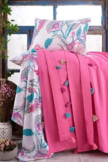 Lady Moda Çift Kişilik Pamuklu Ponponlu Pike Takımı | Pembe Renkli
